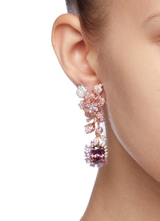 Anabela Chan 'Rose' diamond gemstone detachable drop cocktail earrings