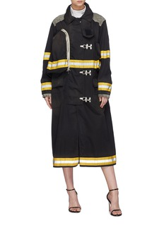 CALVIN KLEIN 205W39NYC 'Firefighter' detachable logo patch stripe twill coat