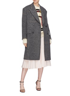 CALVIN KLEIN 205W39NYC Double breasted stripe oversized tweed coat