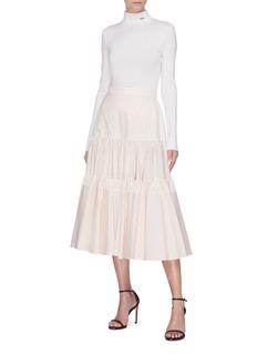 CALVIN KLEIN 205W39NYC Windowpane check ruffle tiered skirt