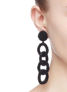 Oscar de la Renta Beaded interlocking hoop link clip earrings