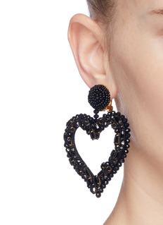 Oscar de la Renta Glass crystal beaded heart drop clip earrings