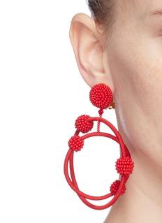 Oscar de la Renta 'Orbit' beaded threaded hoop drop clip earrings