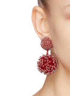 Oscar de la Renta Beaded ball drop clip earrings
