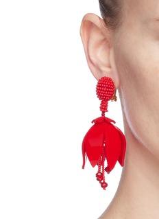 Oscar de la Renta Floral glass crystal drop clip earrings