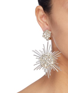Oscar de la Renta Swarovski crystal fireball drop clip earrings