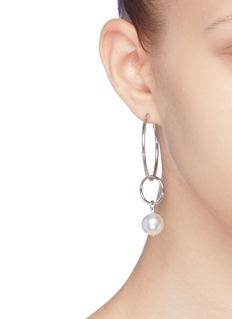 Joomi Lim 'Not Your Basic' Swarovski pearl mismatched medium hoop earrings