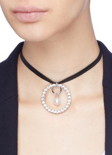 Joomi Lim 'Saturn Stunner' Swarovski crystal pearl hoop leather choker