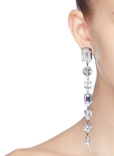 Joomi Lim Swarovski crystal mismatched linear drop clip earrings