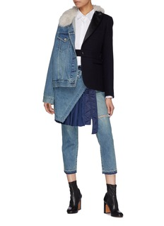 Sacai Buckled pleated wrap overlay cropped jeans