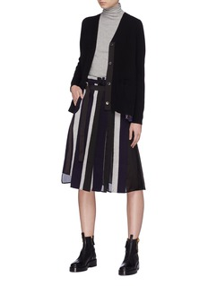 Sacai Belted stripe patchwork melton skirt
