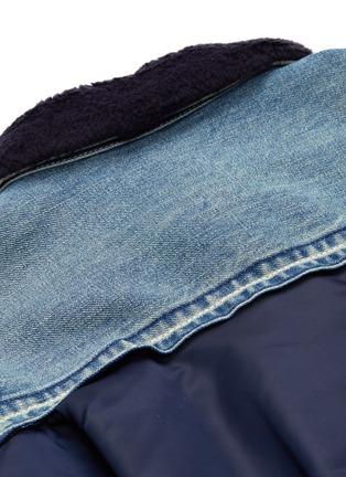 - sacai - Faux shearling collar bomber back denim jacket