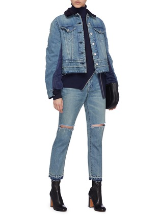 Figure View - Click To Enlarge - sacai - Faux shearling collar bomber back denim jacket