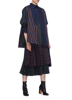 Sacai Mix stripe layered patchwork shirt