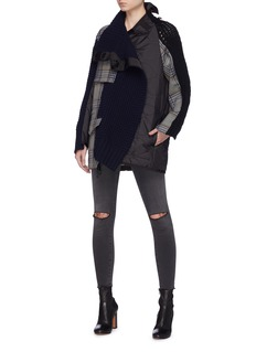 Sacai Panelled staggered turtleneck jacket