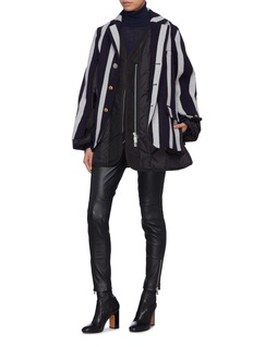 Sacai Puffer back panel belted stripe melton jacket
