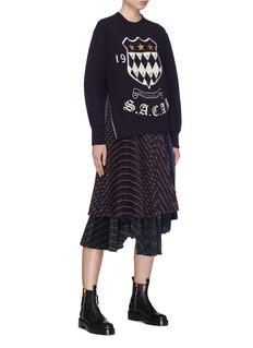 Sacai Logo crest embroidered zip outseam sweatshirt