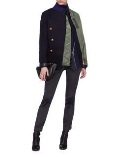 Sacai Wool melton blazer panel bomber jacket