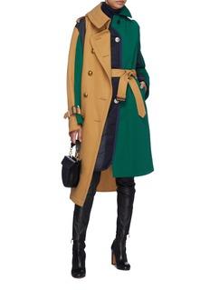 Sacai Belted colourblock patchwork panel coat