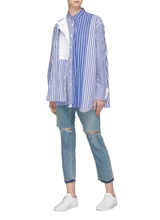 Sacai Mix stripe patchwork shirt