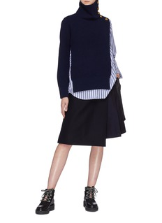 Sacai Quilted panel layered mock wrap skirt