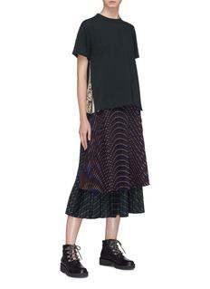 Sacai Belted mix stripe plissé pleated skirt