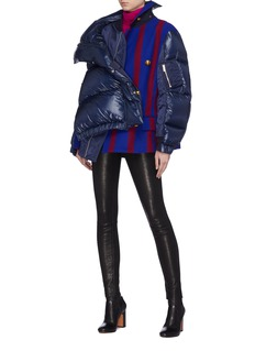 Sacai Stripe melton panel down puffer jacket