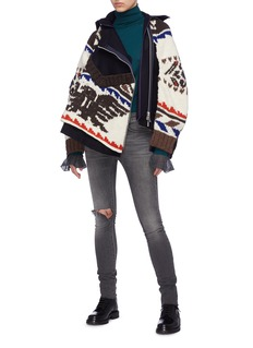 Sacai Graphic intarsia knit detachable zip front hooded jacket