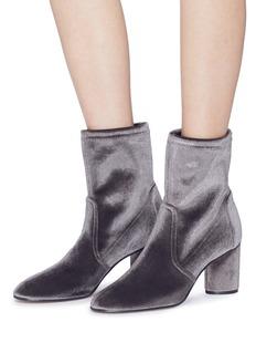Stuart Weitzman 'Margot' cylindrical heel stretch velvet ankle boots