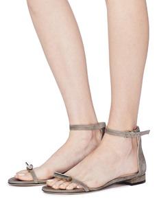 Stuart Weitzman 'Cylinder' embellished ankle strap suede sandals