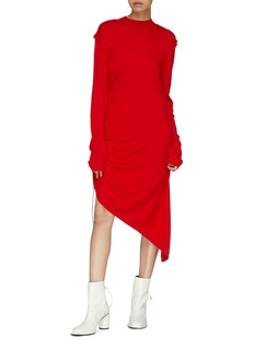 Aalto Drawcord ruched mock neck asymmetric wool dress