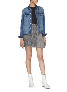 Aalto Asymmetric flared panel check plaid mini skirt