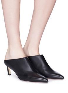 Stuart Weitzman 'Mira' angled heel leather mules