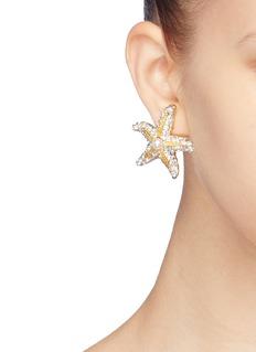 Kenneth Jay Lane Glass crystal starfish clip earrings