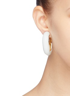 Kenneth Jay Lane Enamel hoop clip earrings