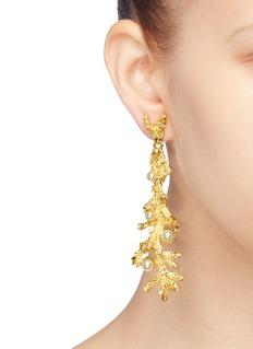 Kenneth Jay Lane Glass crystal pearl branch drop earrings