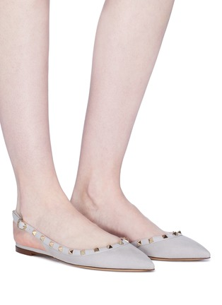 Figure View - Click To Enlarge - Valentino - 'Rockstud' suede slingback skimmer flats