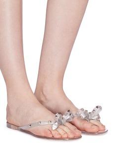 Valentino 'Rockstud' bow glitter PVC flip flops
