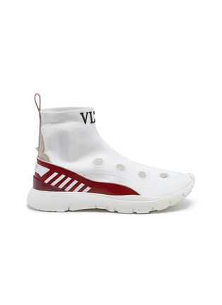 Main View - Click To Enlarge - VALENTINO - 'Heroes' logo cutout sock knit high top sneakers