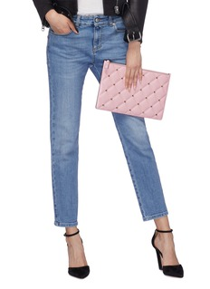 Valentino Rockstud quilted leather zip pouch