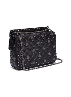 Valentino 'Rockstud Spike' heart beaded medium quilted leather crossbody bag