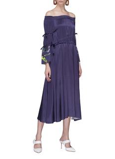 Patricia Iglesias Floral print tie sleeve off-shoulder silk dress