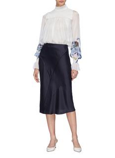 Patricia Iglesias Smocked yoke floral print silk blouse