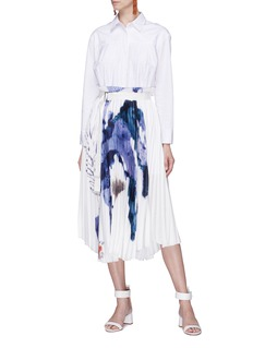 Patricia Iglesias Belted floral print pleated shirt dress