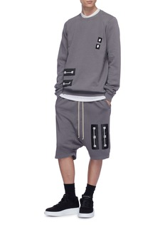 Rick Owens DRKSHDW Graphic patch drop crotch sweat shorts