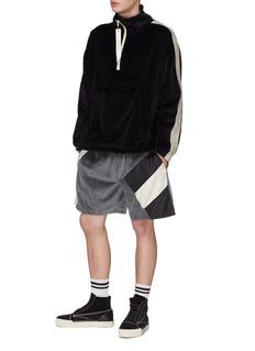 Daniel Patrick Colourblock satin panel velour sweat shorts