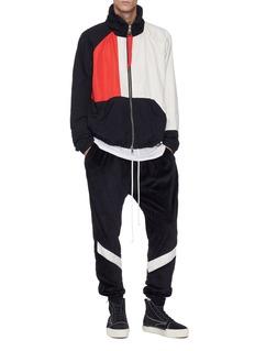 Daniel Patrick Logo print outseam stripe velour track pants