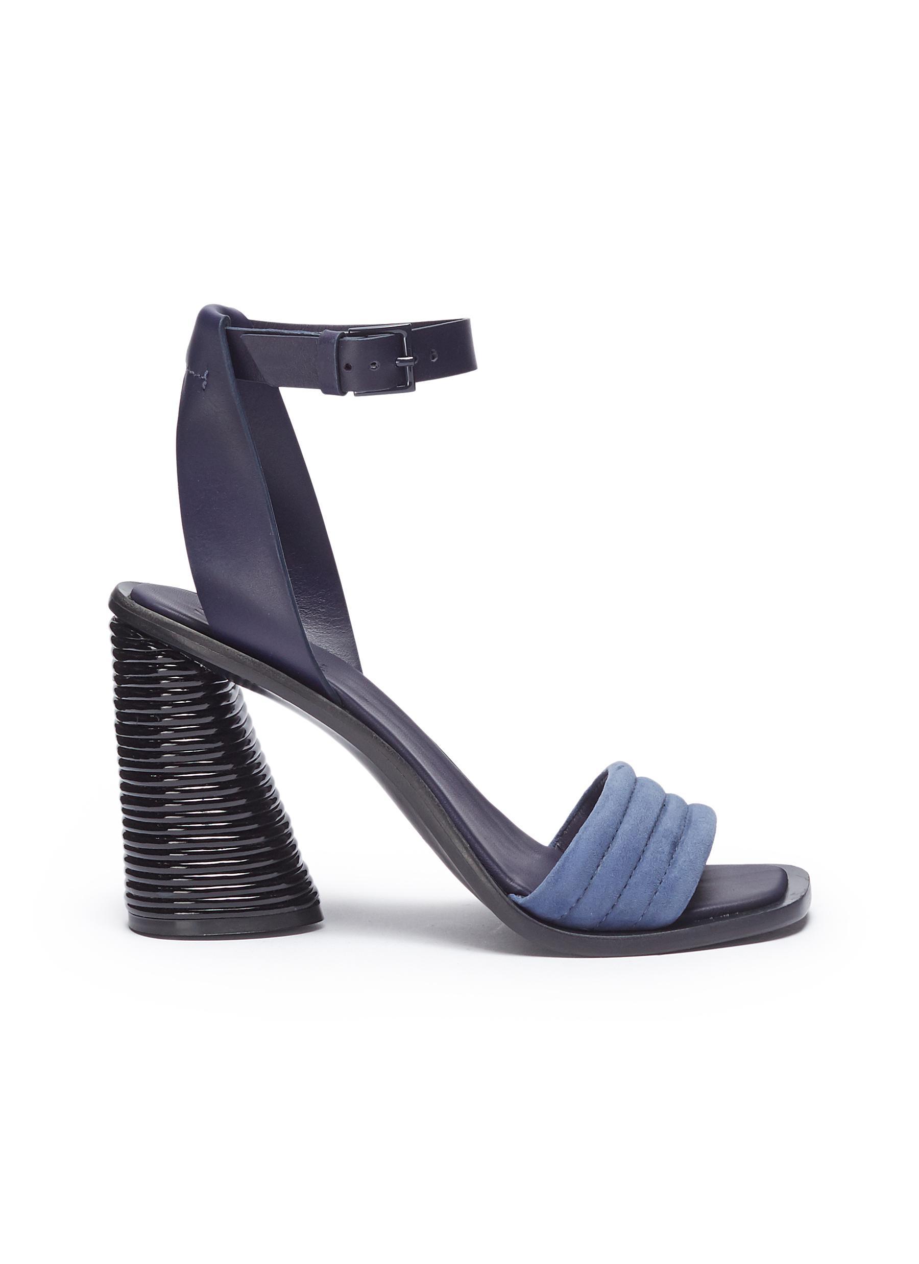 Hiru sculptural heel leather ankle strap suede sandals by Mercedes Castillo