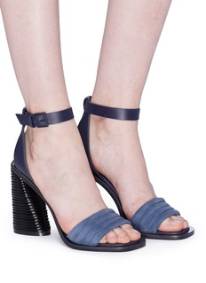 Mercedes Castillo 'Hiru' sculptural heel leather ankle strap suede sandals