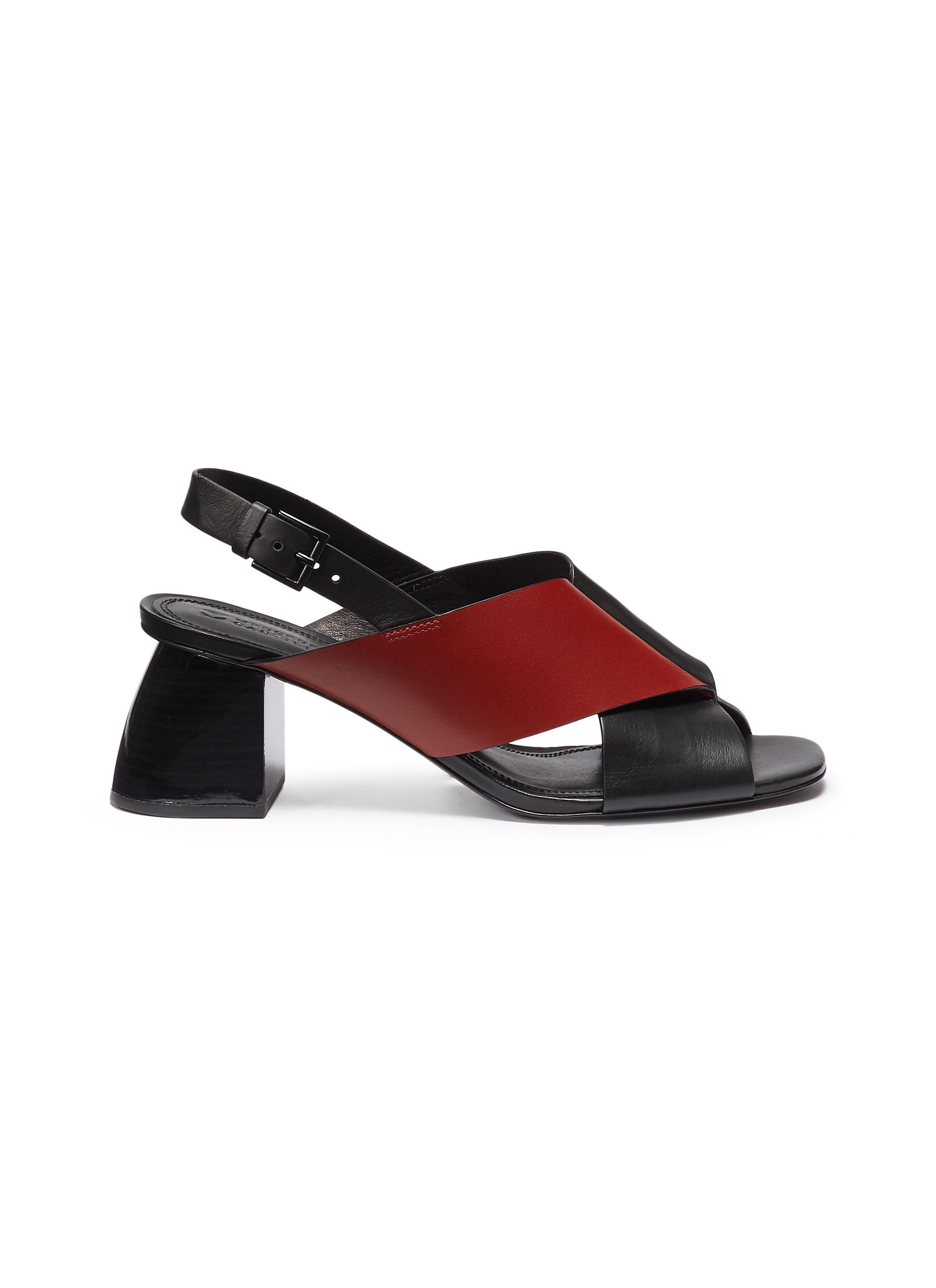 Hae Mid colourblock cross strap leather slingback sandals by Mercedes Castillo
